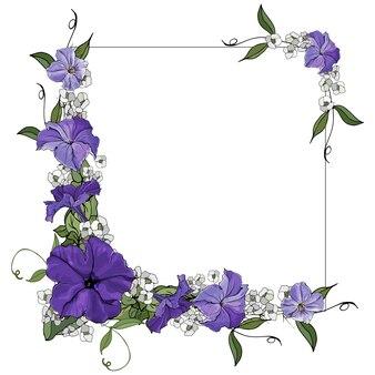 Цветочная рамка с красивыми фиолетовыми цветами петунии.