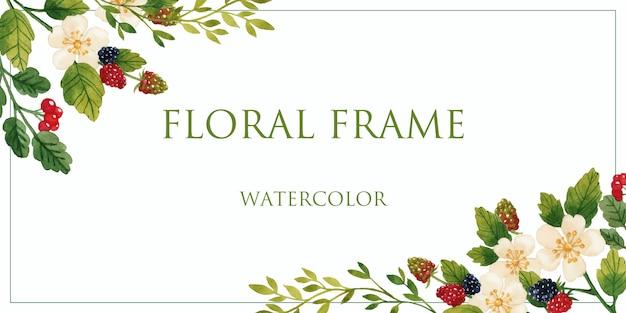 Цветочная рамка с ягодами акварель изолированные