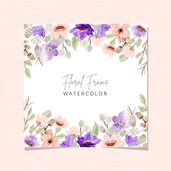 Floral frame with blush purple floral watercolor