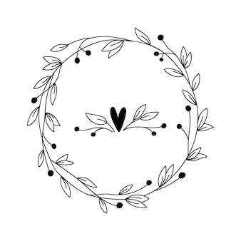 枝と花と花のフレーム。カード、結婚式、挨拶、印刷、その他の花のビンテージデザインの手描きハーブリース。