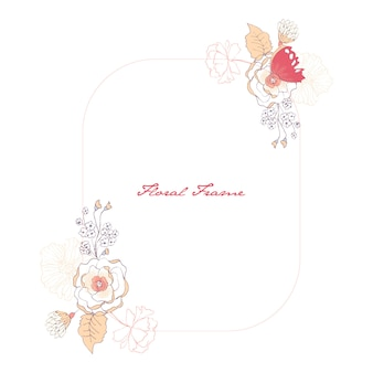 Floral frame with butterfly