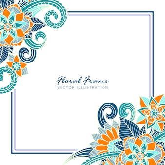 Floral frame with colorful flower.