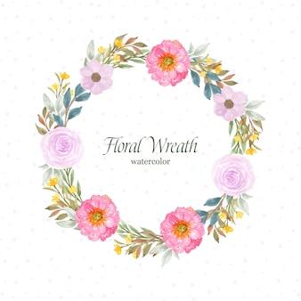 화려한 꽃과 잎과 꽃 프레임