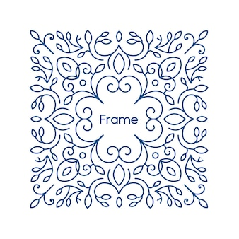 Floral frame with copy space for text in trendy mono line style