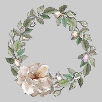 크림 장미, 녹색 잎과 장미 봉오리가 있는 꽃 프레임.