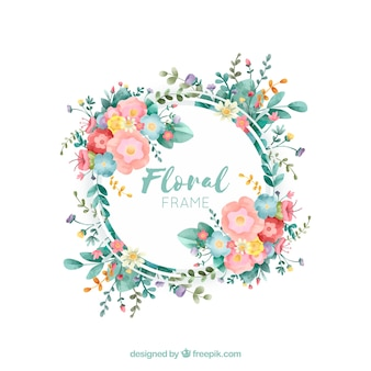 Floral frame with different type of flowers