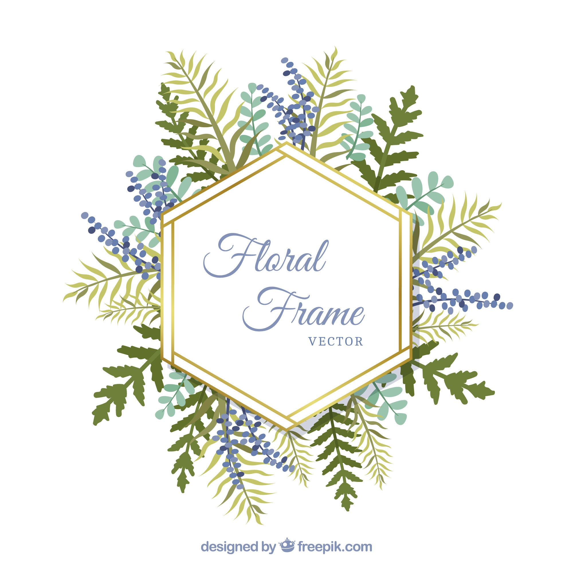 Floral frame with differents leaves