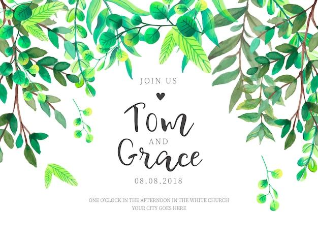結婚式の招待状の緑の葉の花のフレーム