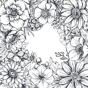 Floral frame with hand drawn spring flowers and plants. monochrome