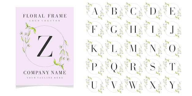 Floral frame with initial card collection
