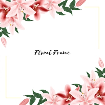 Floral frame with lily flower bouquet