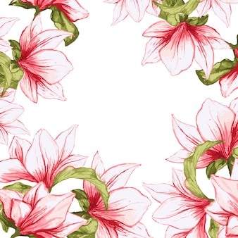 Floral frame with painted magnolia blossoming flowers background