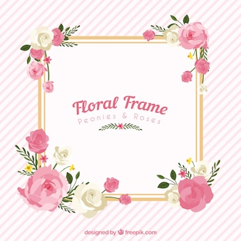Floral frame with peonies and roses