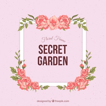 Floral frame with pink background