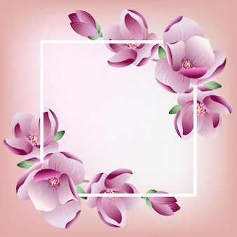 Floral frame with pink blooming magnolia flowers