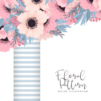 Floral frame with pink and blue flower.