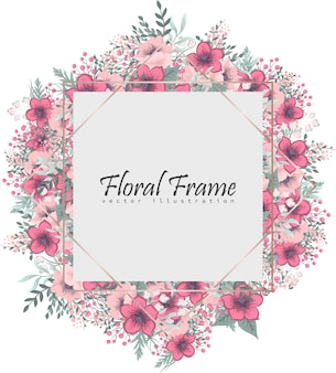 Floral frame with pink flower. wreath