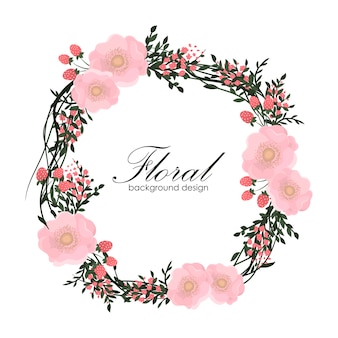 Floral frame with pink flower.
