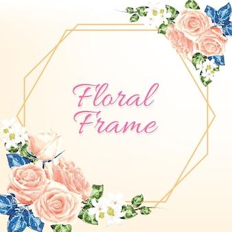 Цветочная рамка с розовой пастельной розой и белыми полевыми цветами.