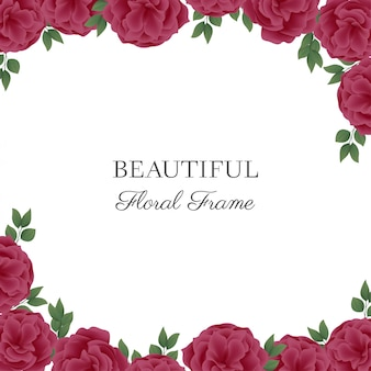 Floral frame with pink roses on white background