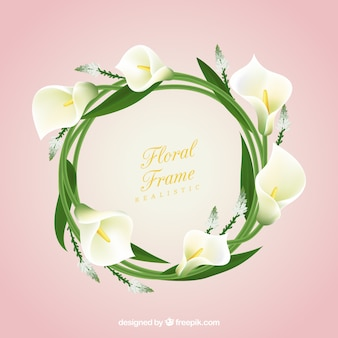 Floral frame with realistic coves