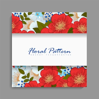 Floral frame with red and blue flower.
