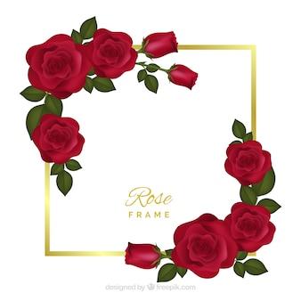 Floral frame with red roses