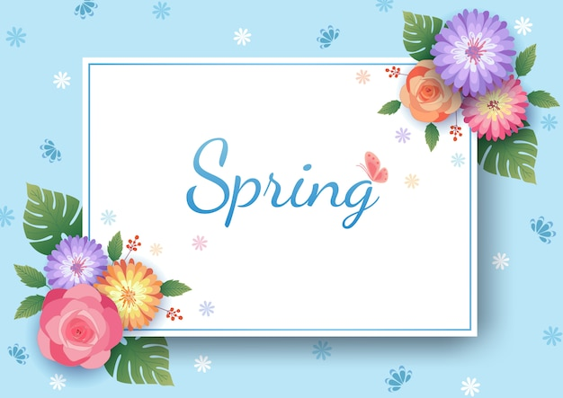 青のバラとデイジーの花と花のフレーム