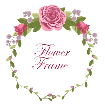 Floral frame with rose