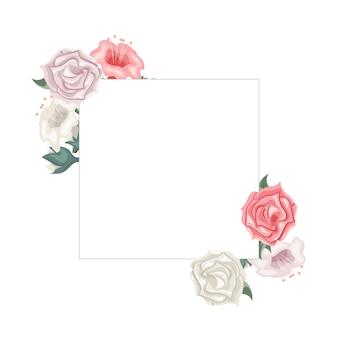 バラとチューリップの花のフレーム