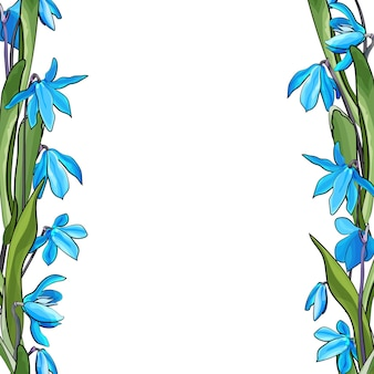 봄 푸른 꽃과 꽃 프레임입니다.