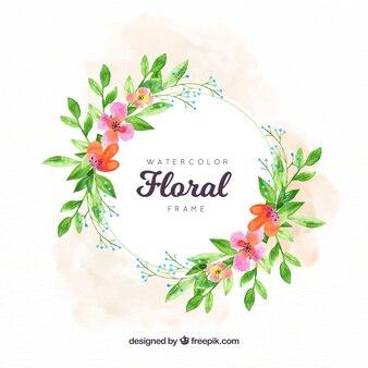 Floral frame with vegetation