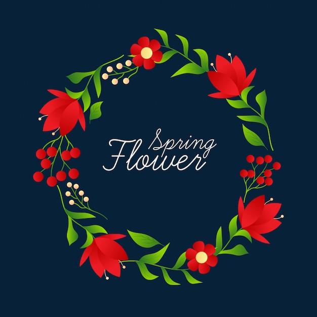 Floral frame with vintage design