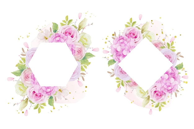 水彩ピンクのバラと青いアジサイの花と花のフレーム