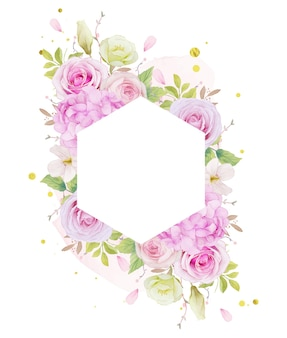 Цветочная рамка с акварельными розовыми розами и синим цветком гортензии