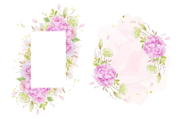 Floral frame with watercolor pink roses and blue hydrangea flower