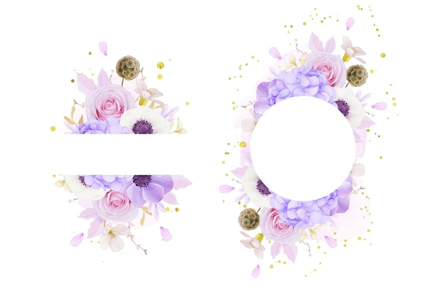 Floral frame with watercolor pink roses