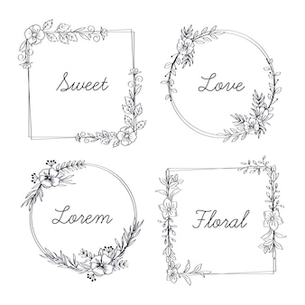 Floral frame with word collection