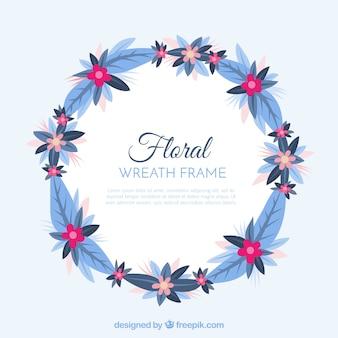 花輪デザインの花のフレーム