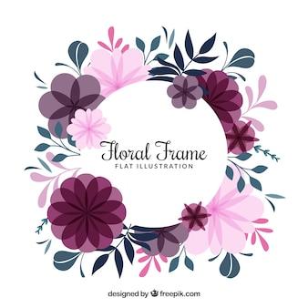 平らなスタイルの花輪と花のフレーム