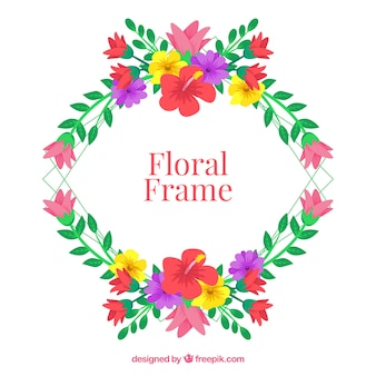 Floral frame with wreath