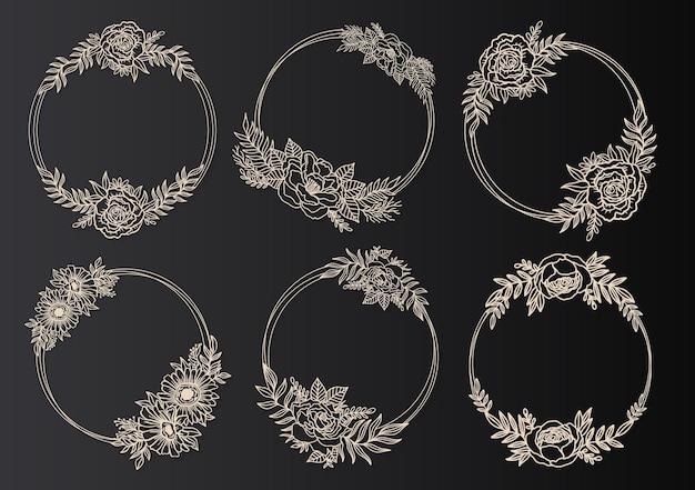 Цветочная рамка венок круг. стиль линии чернил. ботанический раунд цветочных листьев
