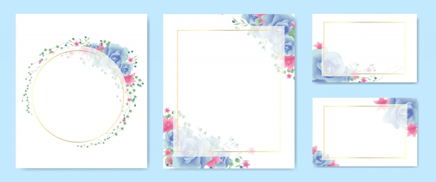Floral frame and wreath set