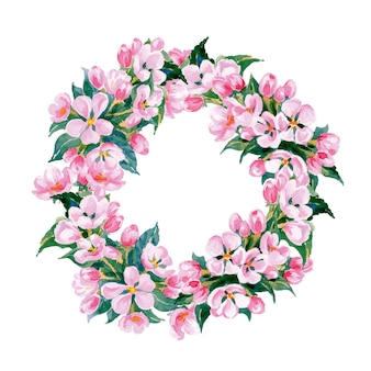 Floral frame a wreath of watercolor apple flowers  template vector