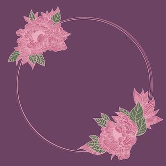 꽃 프레임. 화환과 꽃다발 그림