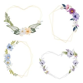 Corone con cornice floreale. set di fiori ad acquerello cornice
