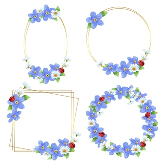 Corone con cornice floreale. insieme dei fiori dell'acquerello del telaio. fiore di alstroemeria del mazzo variopinto dell'acquerello.
