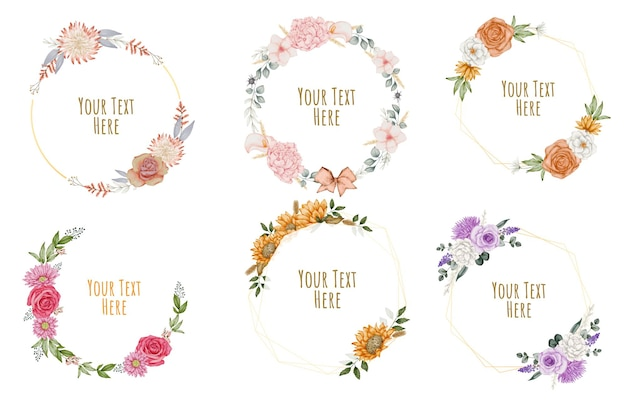 Floral frame wreaths. set of frame watercolor flowers