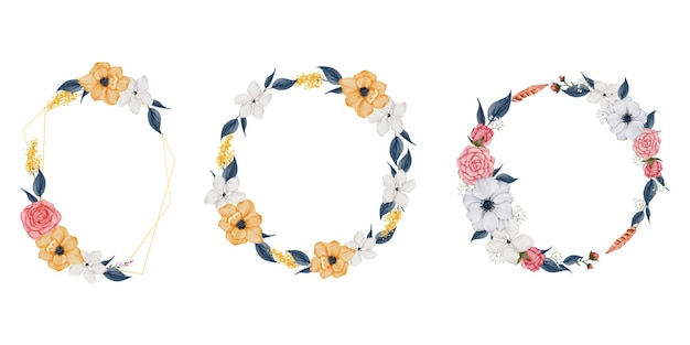 Floral frame wreaths. set of frame watercolor flowers.