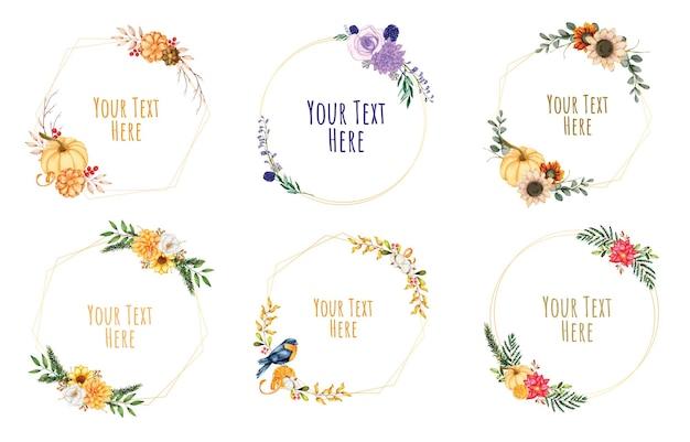 꽃 프레임 화 환입니다. 프레임 수채화 꽃의 집합입니다.